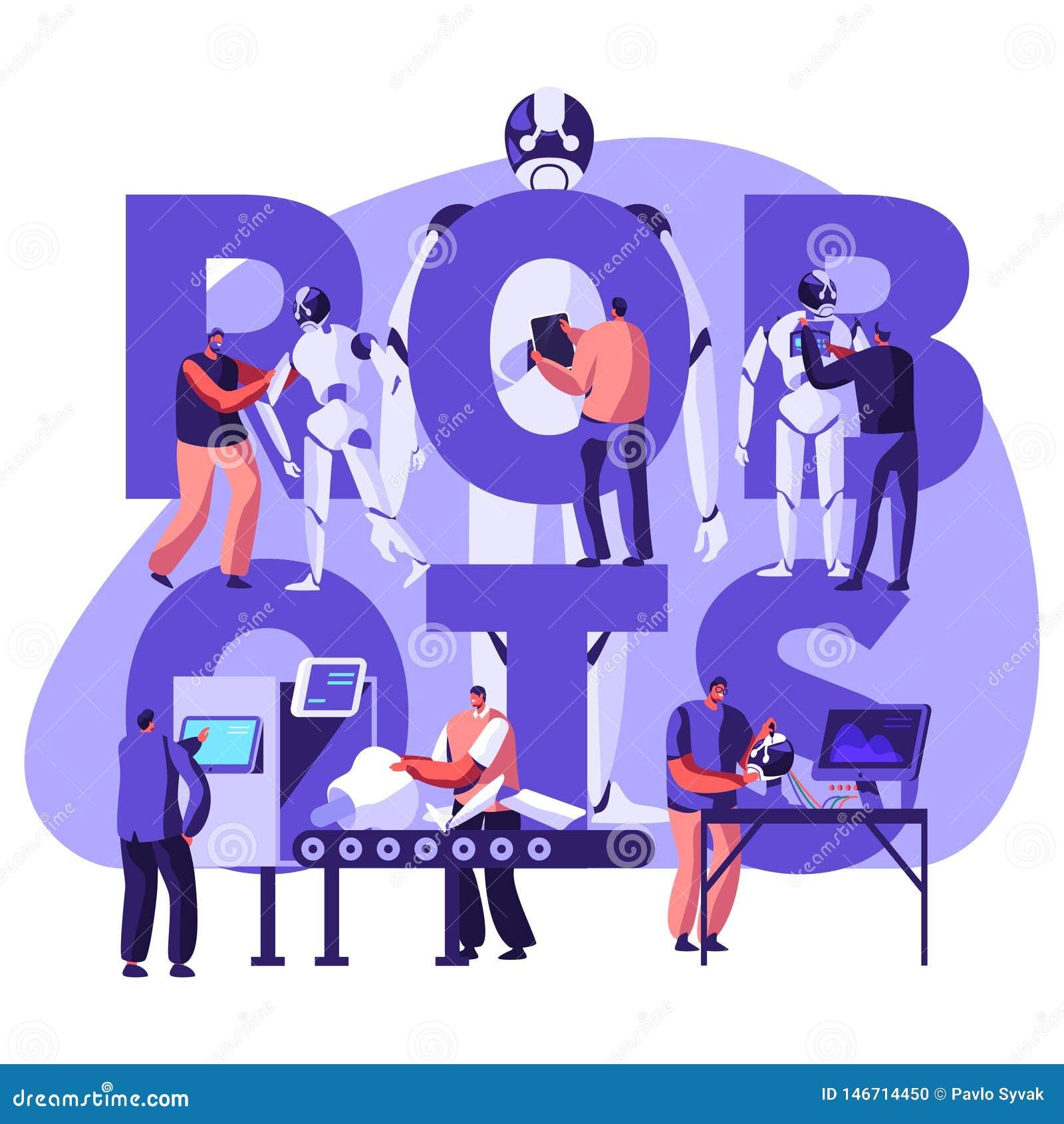 机器人学硬件和软件工程在有高科技设备概念的实验室 做的工程师和编程的机器人