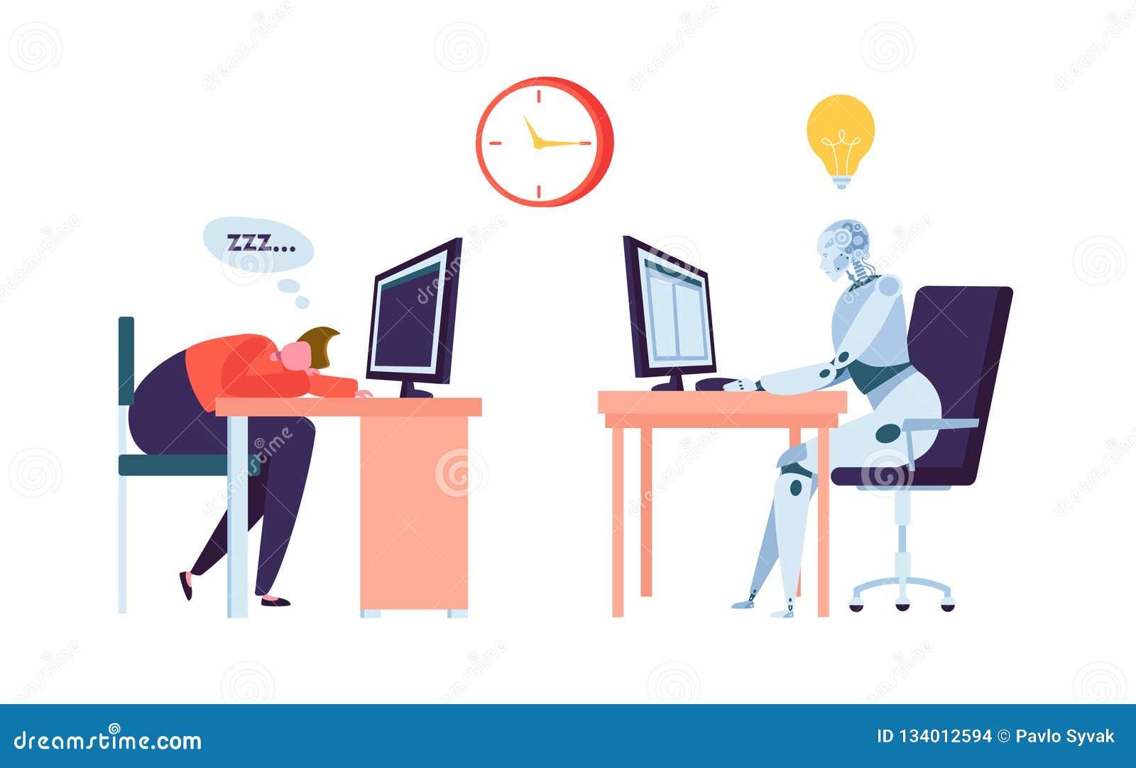 机器人工作,当商人睡觉时 人和Droid竞争在办公室 机器人字符工作者未来演变