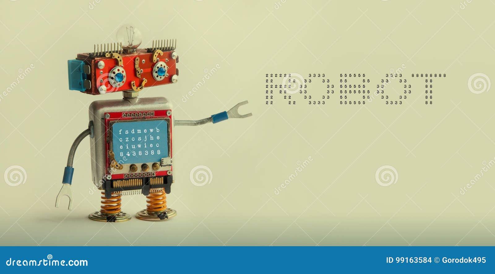 机器人技术概念 IT专家靠机械装置维持生命的人玩具,兴高采烈的红色顶头蓝色显示器身体 在灰棕色的机器人数字式消息