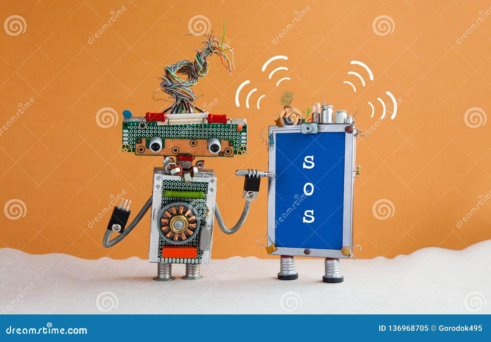 机器人杂物工和残破的智能手机消息SOS 有螺丝刀的机器人军人要修理电话 橙色