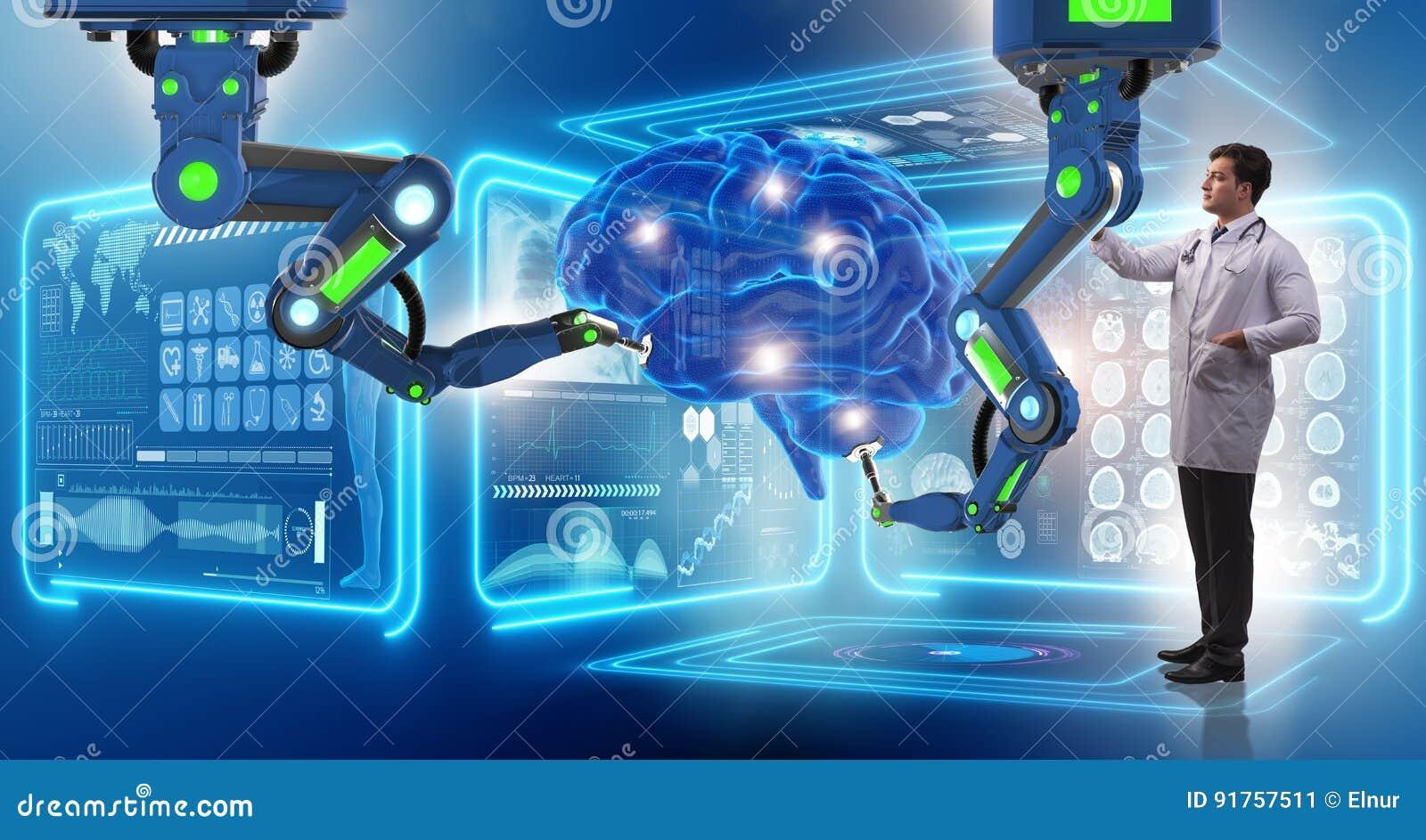 机器人胳膊完成的脑部手术