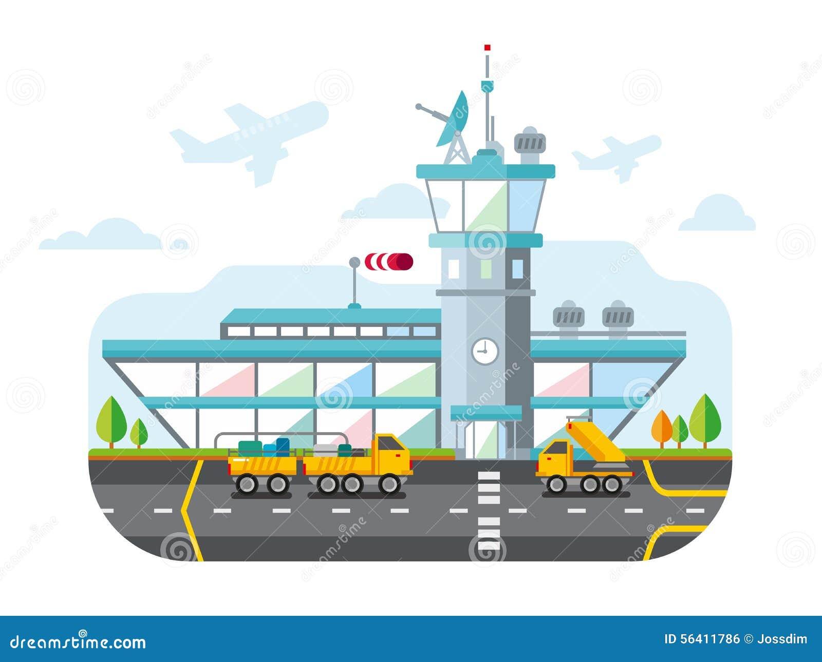 机场现代平的设计传染媒介例证