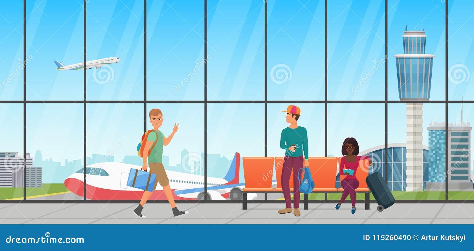 机场蓝色空间被定调子的等待 有椅子和人的离开休息室 终端大厅有飞机视图