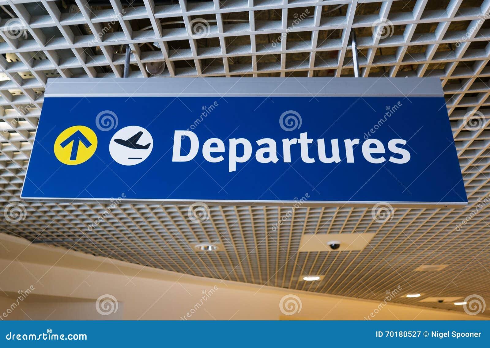 机场离开标志标志