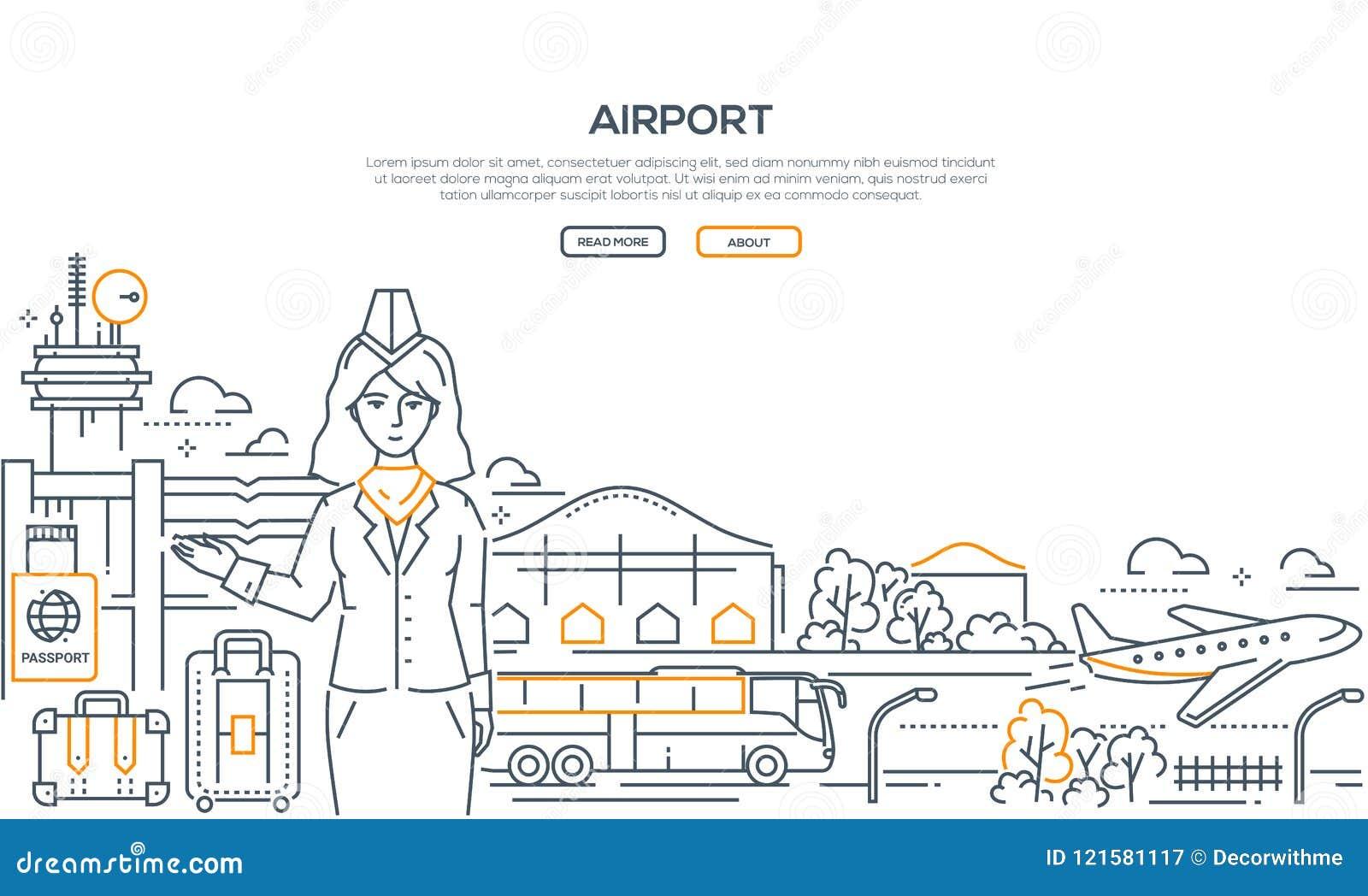 机场-现代线设计样式例证