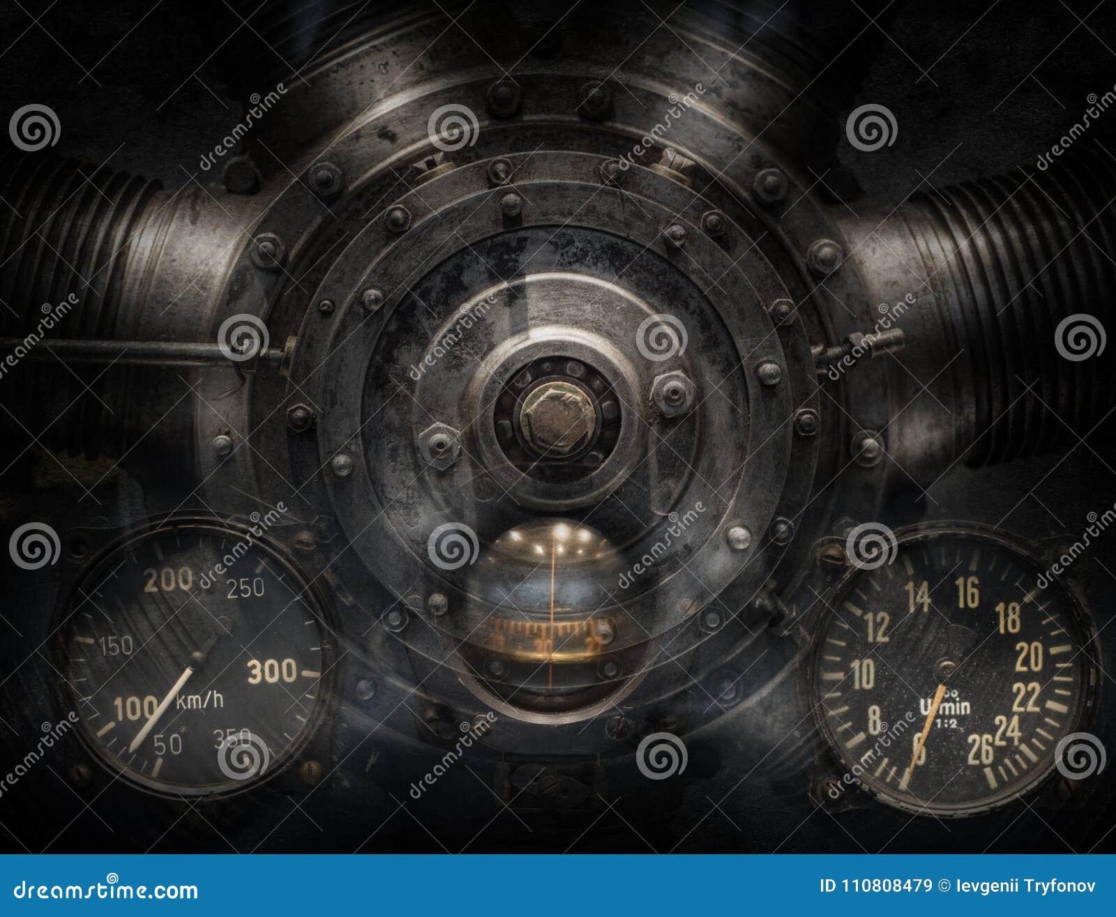 机械和Steampunk难看的东西背景拼贴画