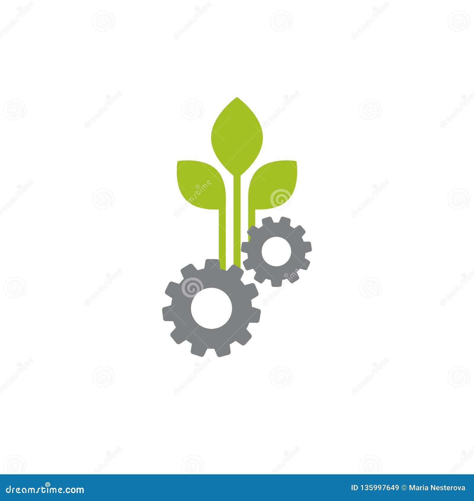 机械齿轮和三片绿色叶子 背景查出的白色