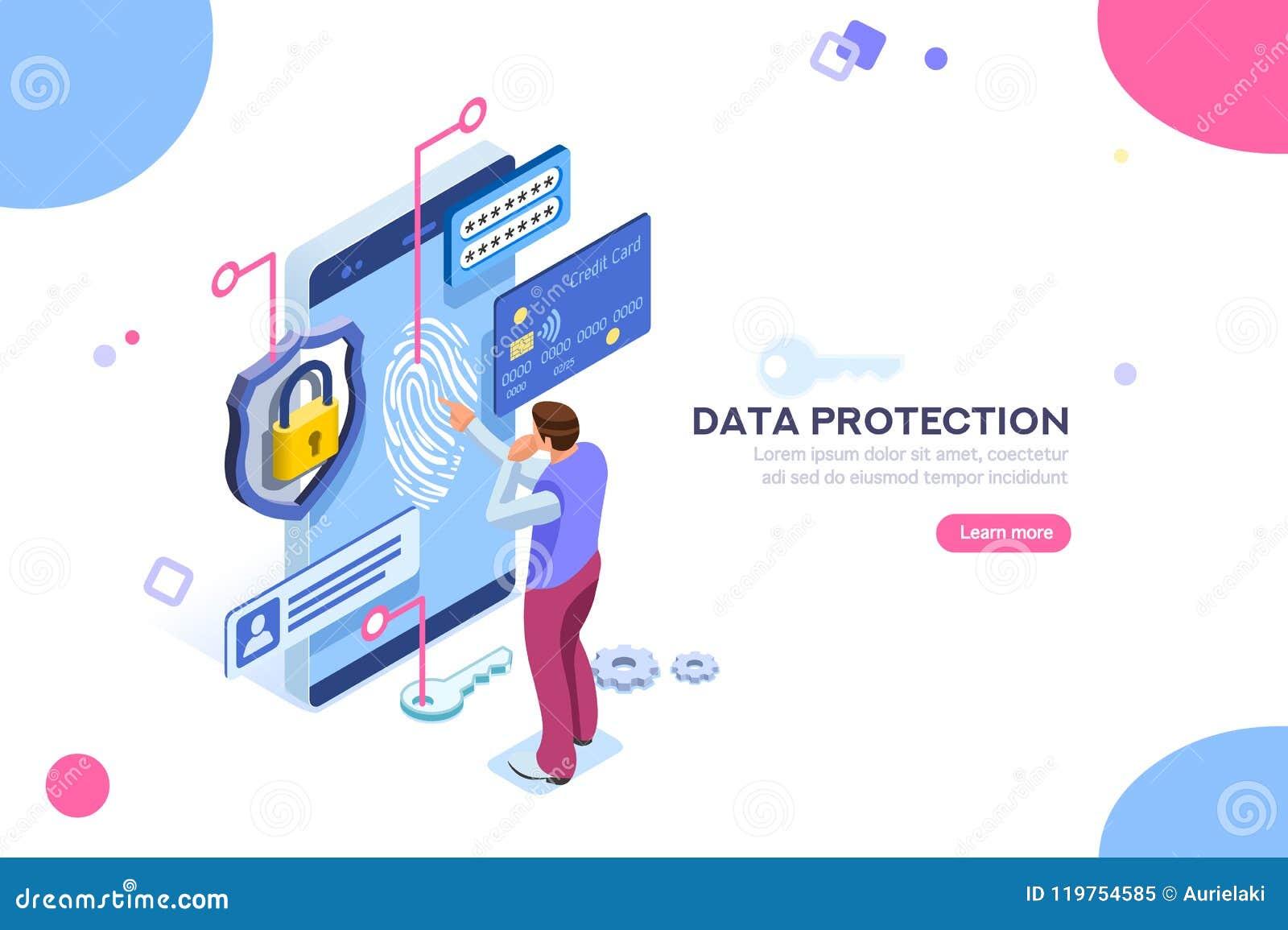 机要数据保护信用卡检查概念