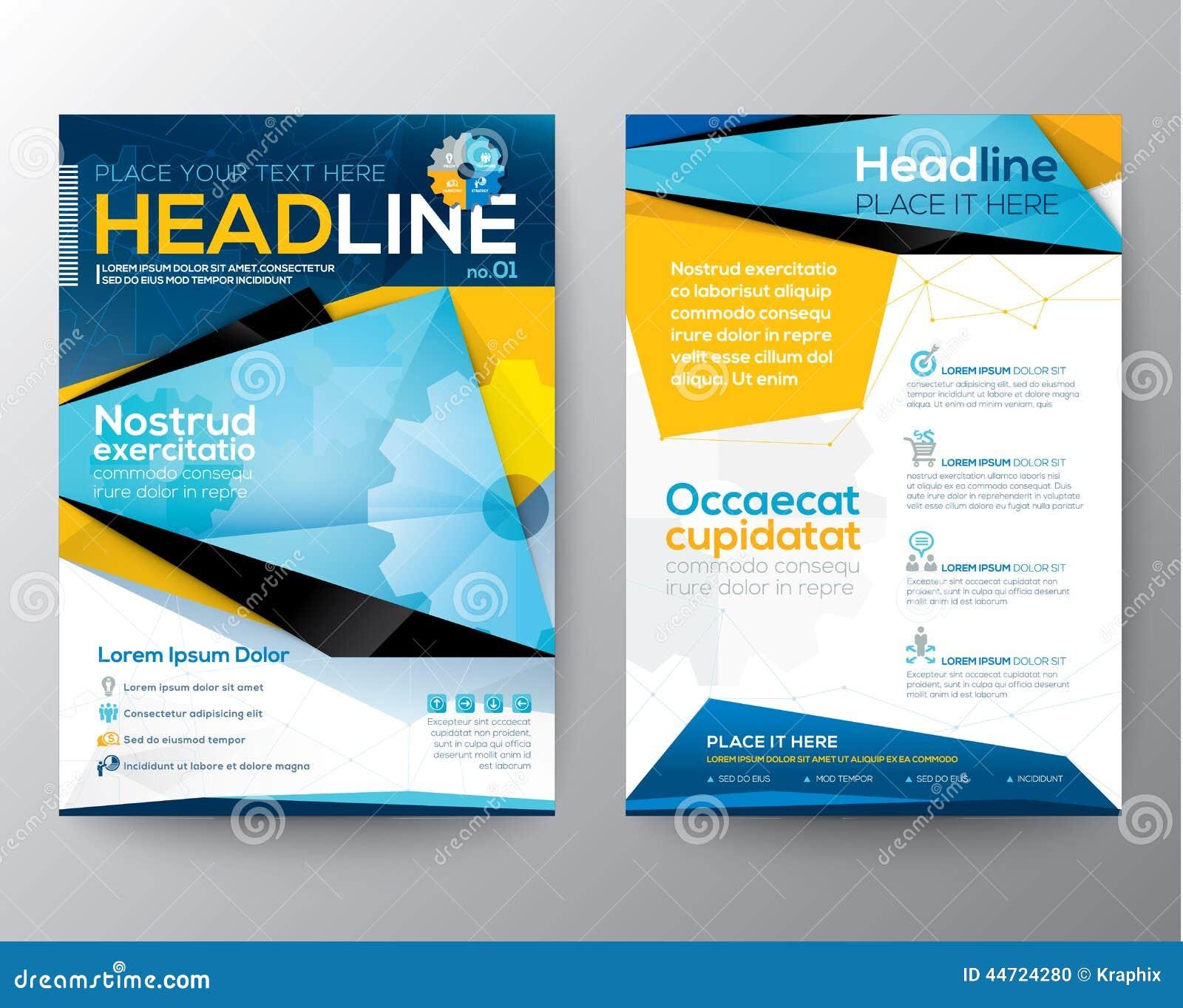 杂志的抽象三角设计传染媒介模板布局