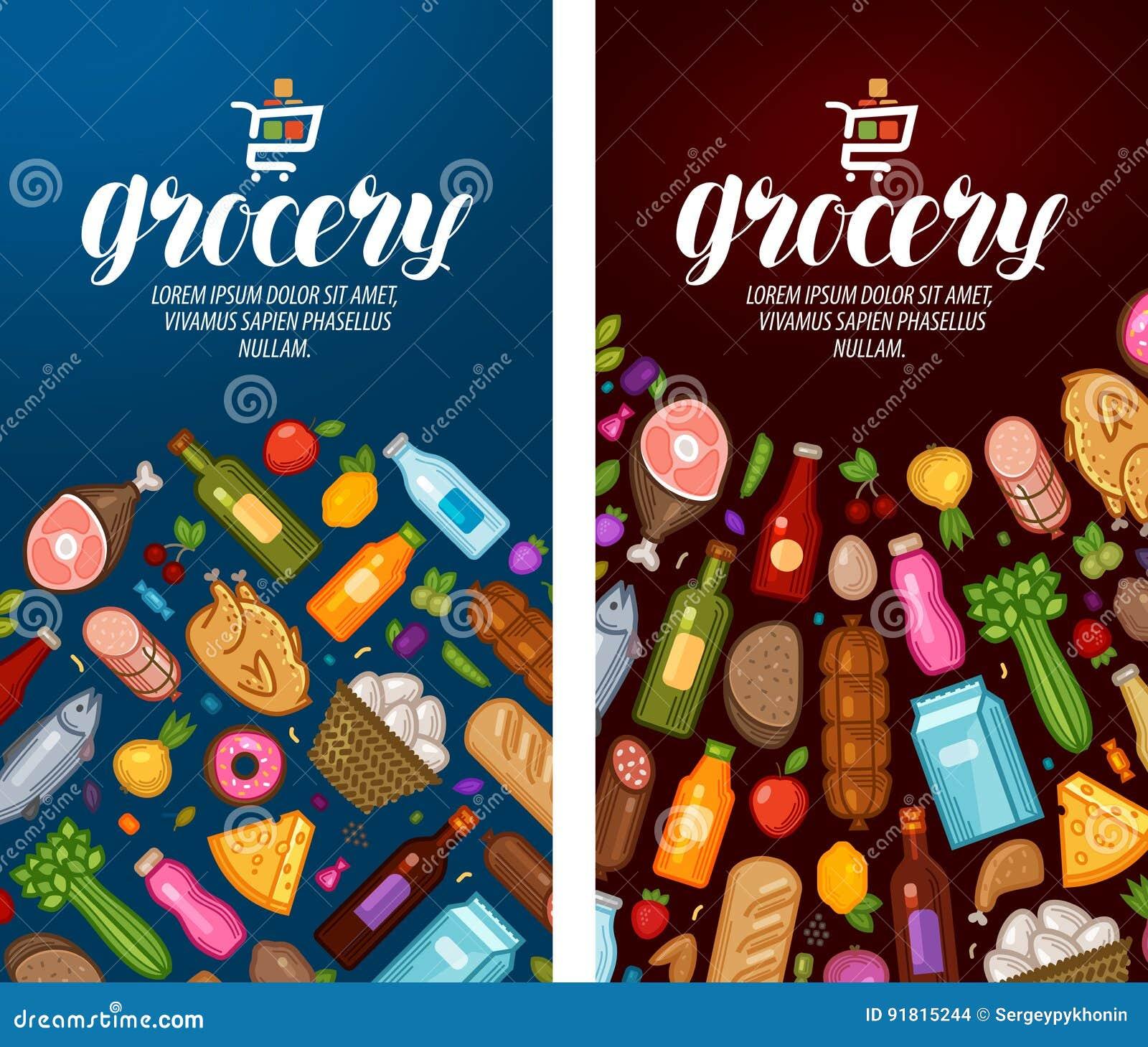 杂货,食物店,超级市场标签 8副横幅设计eps文件包括的模板 也corel凹道例证向量