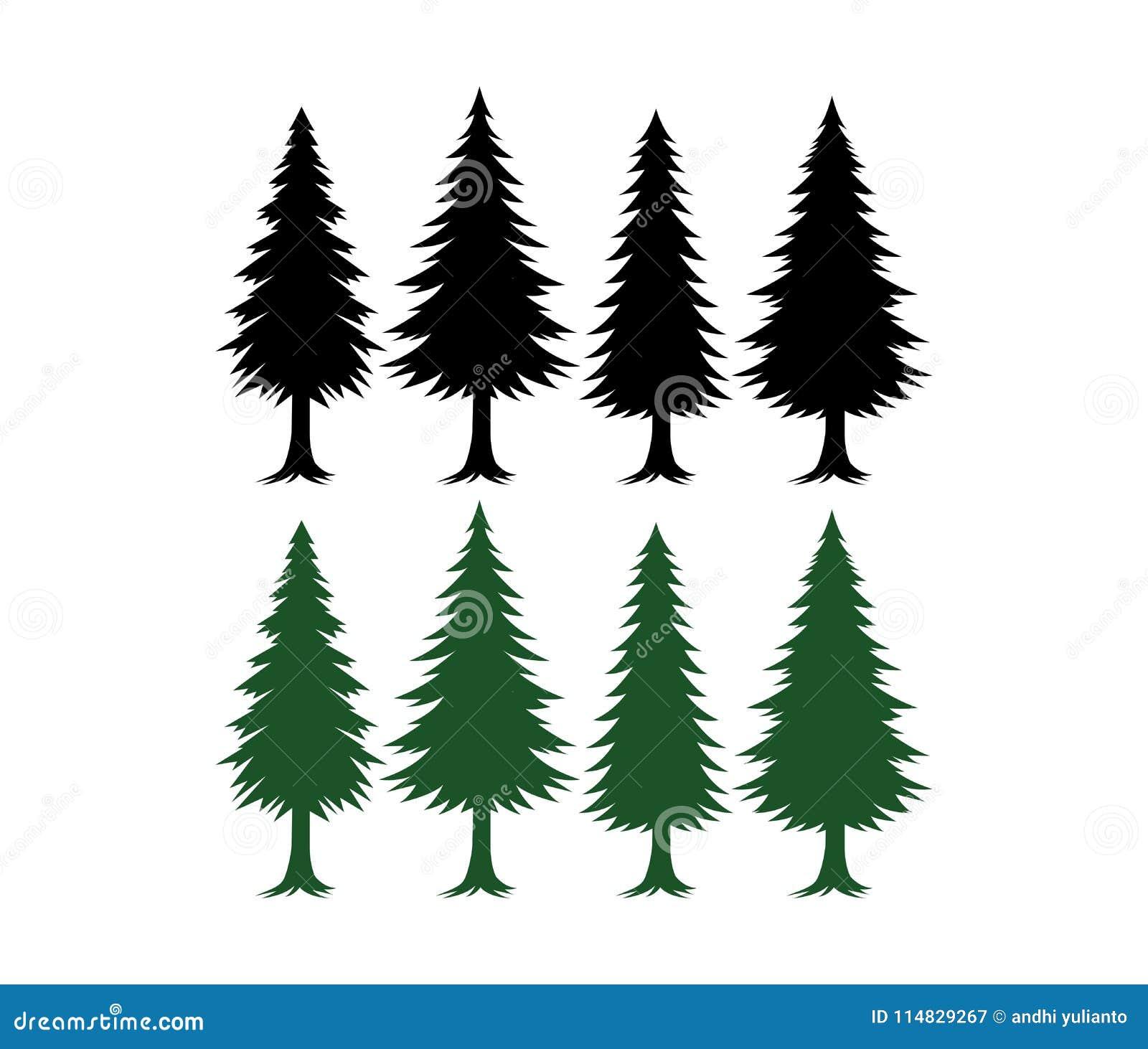 杉树剪影集合传染媒介模板绿色和黑色