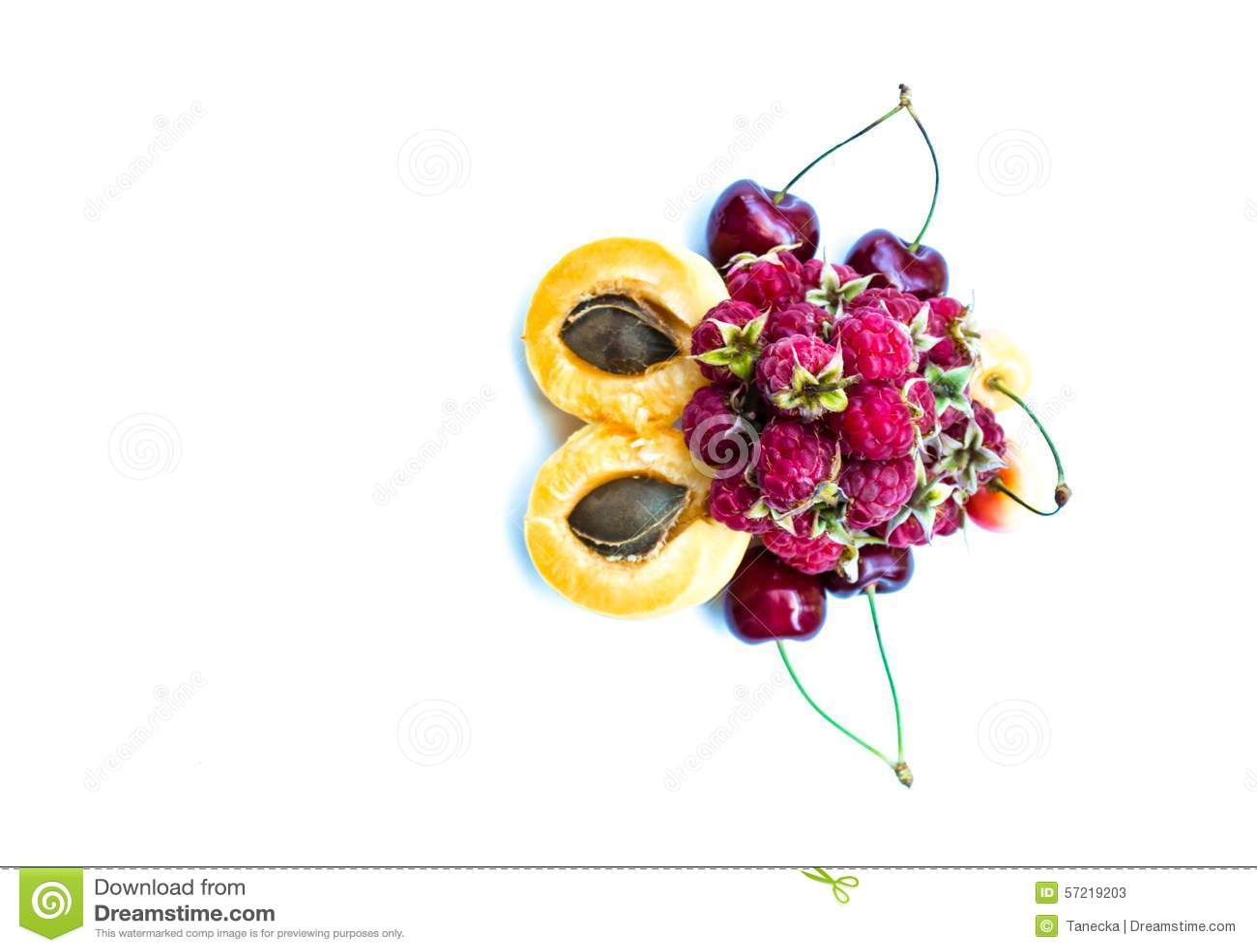 杏子、甜樱桃和莓,拷贝