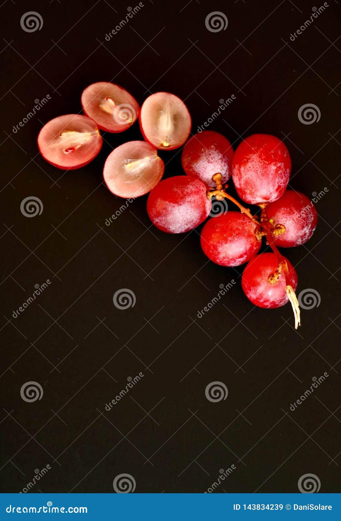 束顶视图桃红色葡萄