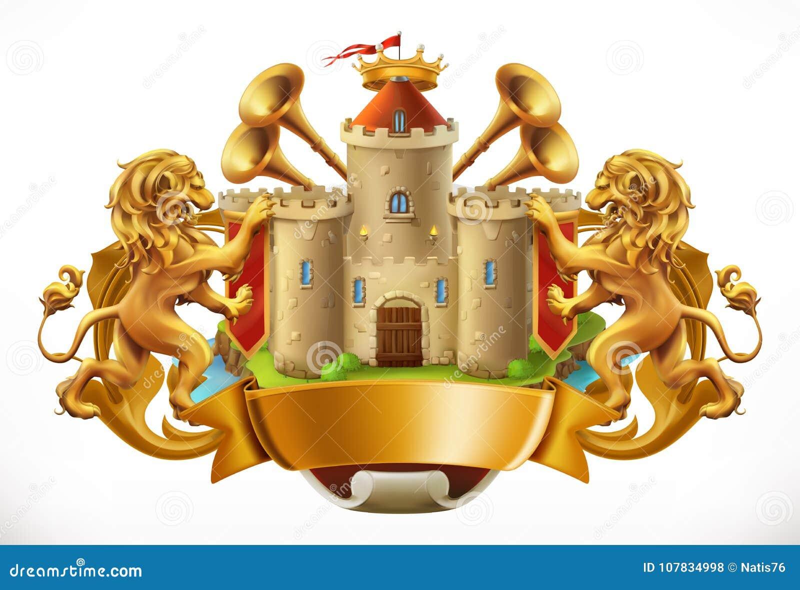 8条另外的胳膊外套eps文件格式以图例解释者 城堡和狮子 适应图标