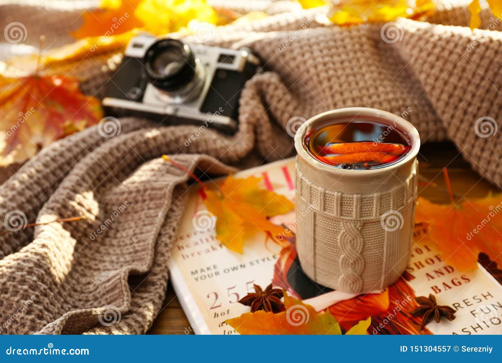杯与秋叶的可口加香料的热葡萄酒在杂志