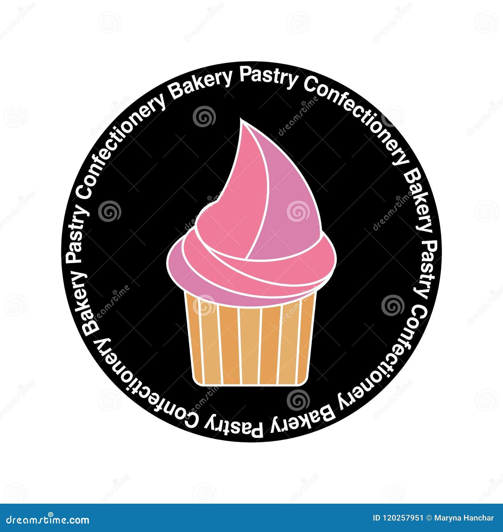 杯形蛋糕商标,贴纸,糖果店的,酥皮点心,面包店商店横幅