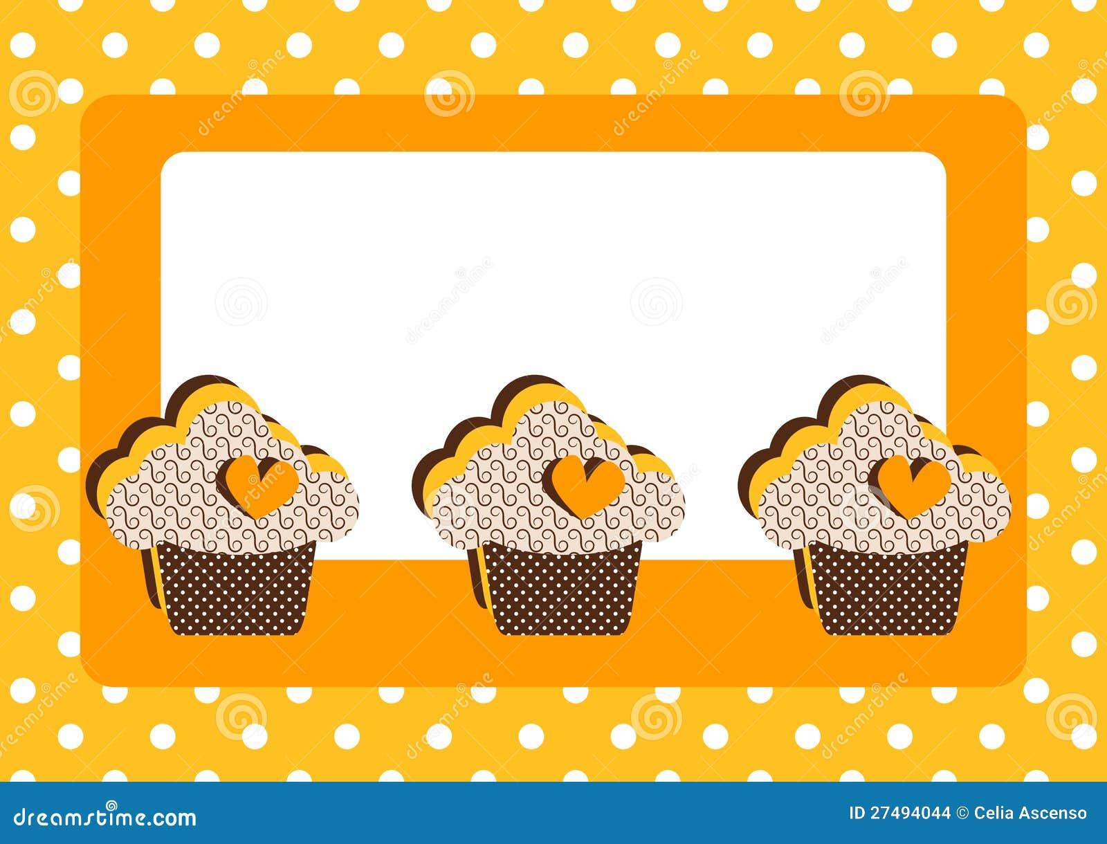 杯形蛋糕圆点花样的布料边界框架看板卡