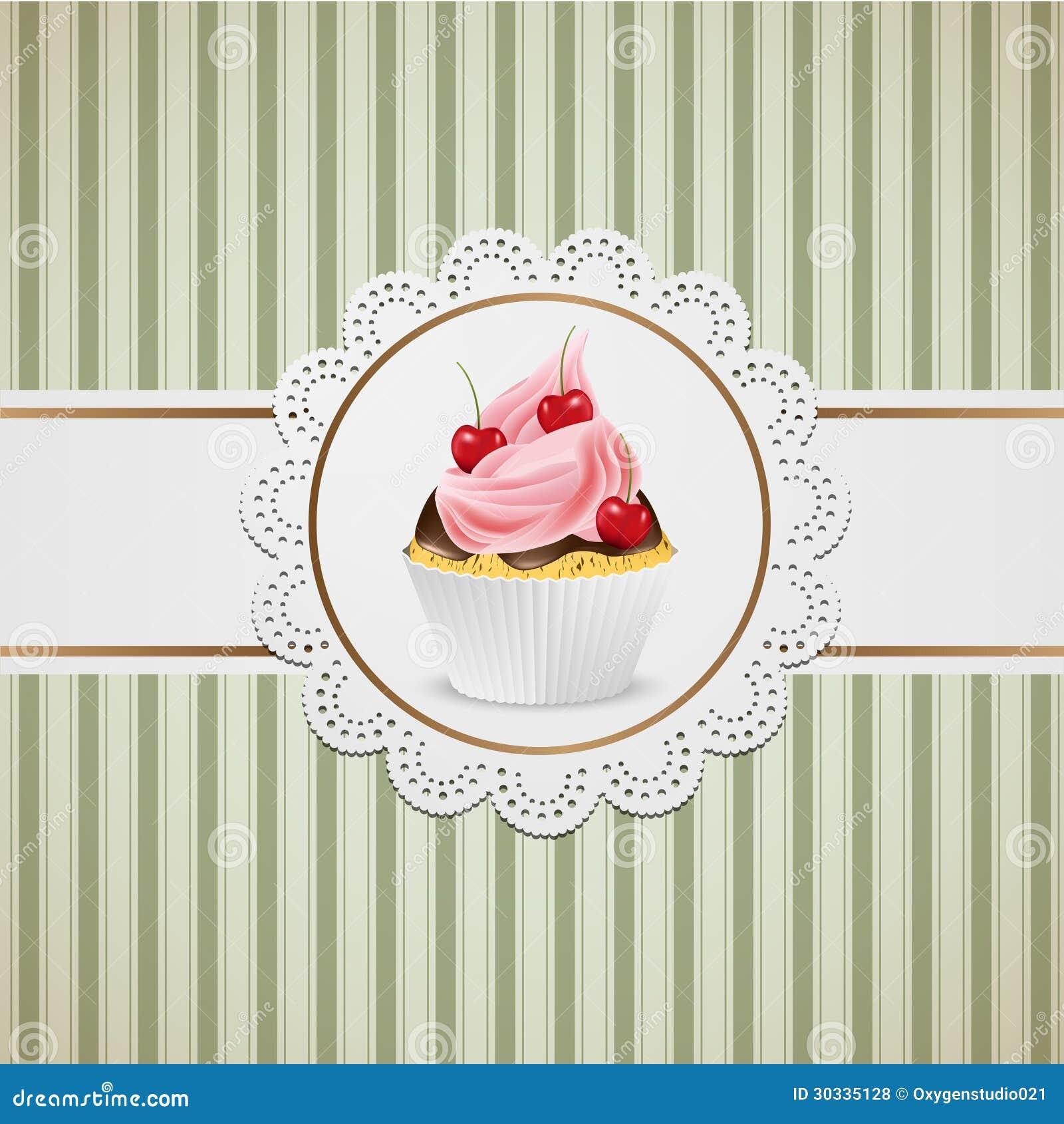 杯形蛋糕用巧克力和桃红色奶油