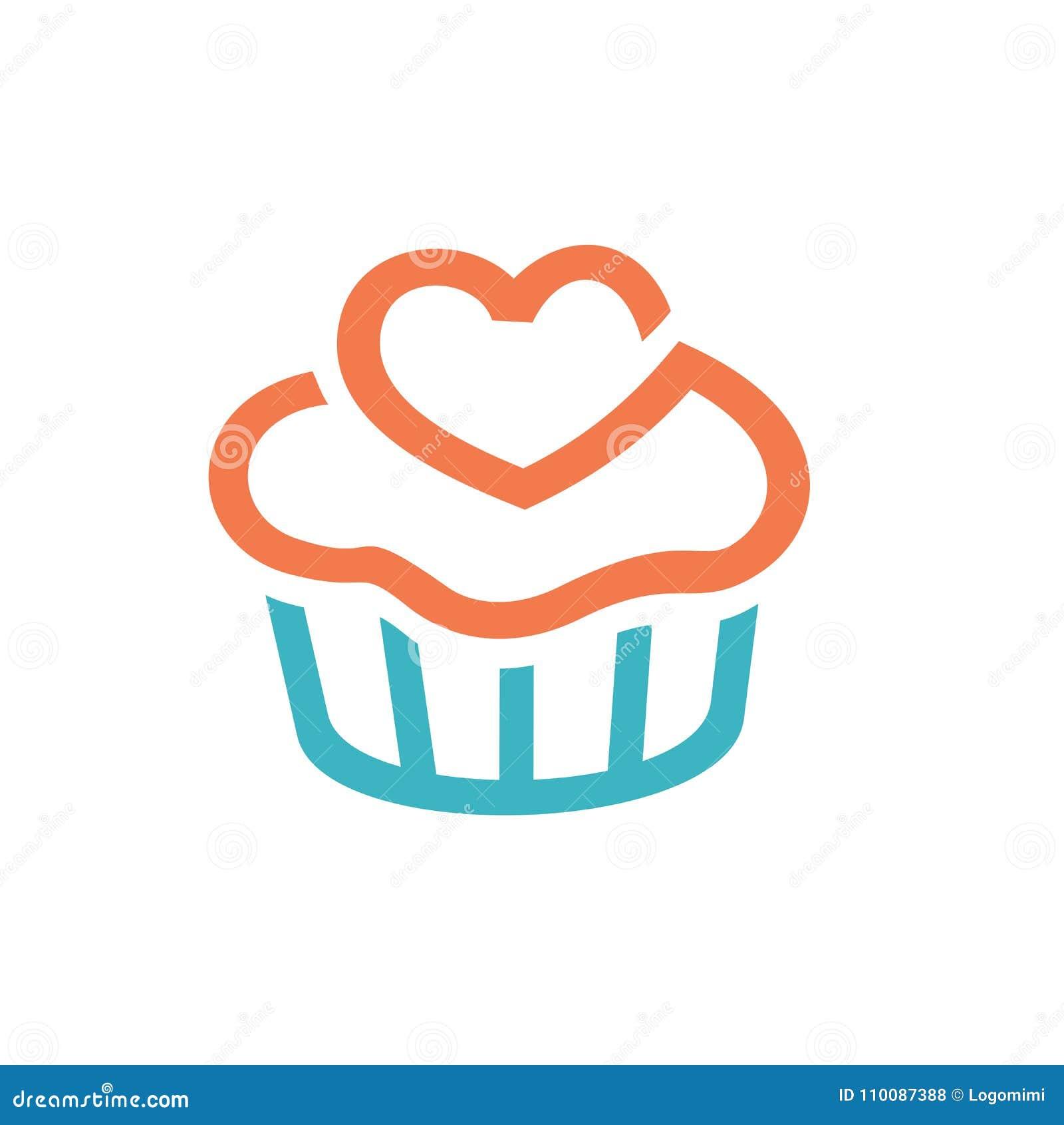 杯形蛋糕象,商标元素 干净和简单的象商标模板,适用于面包店事务,咖啡馆,餐馆,演播室,队,
