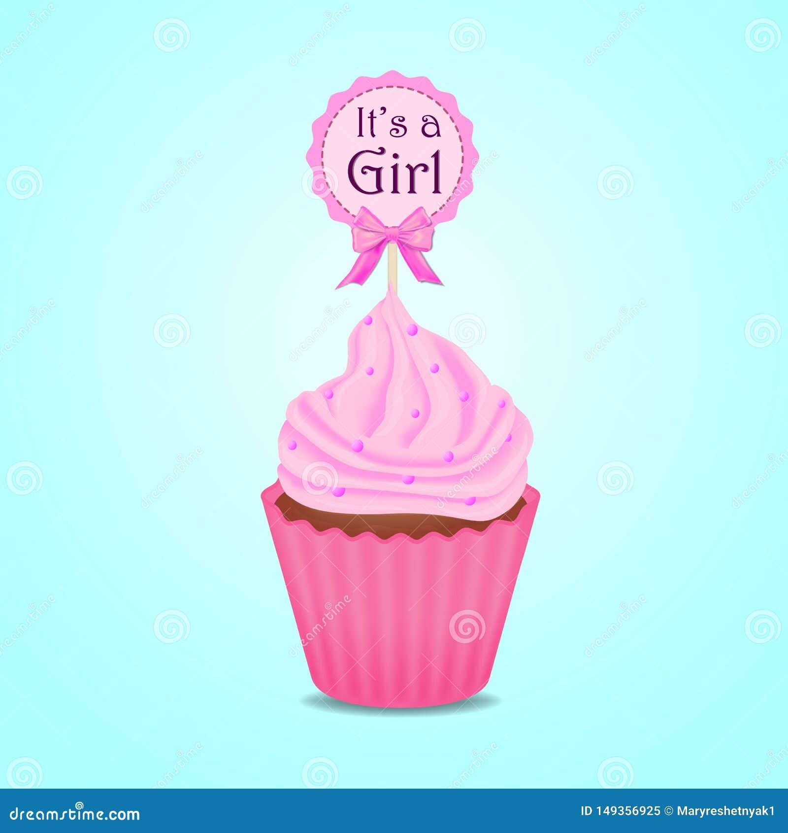 杯形蛋糕,婴儿送礼会邀请,女孩,卡片