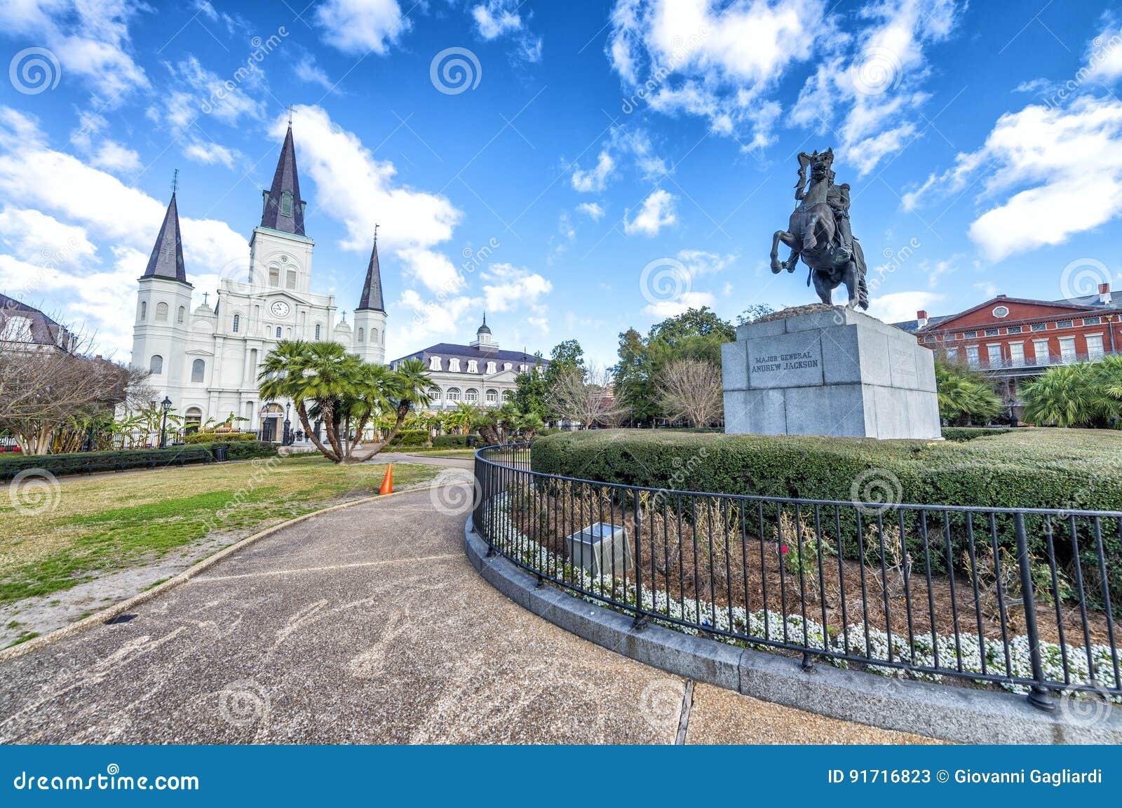 杰克逊广场美丽的景色在新奥尔良,路易斯安那