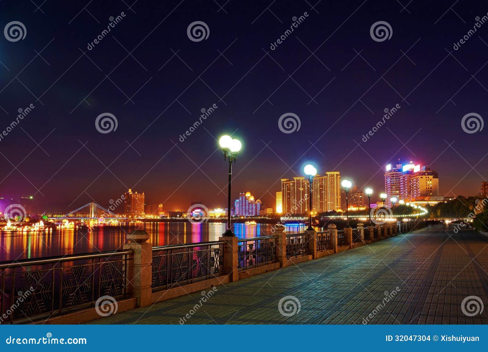 松花江夜风景吉林