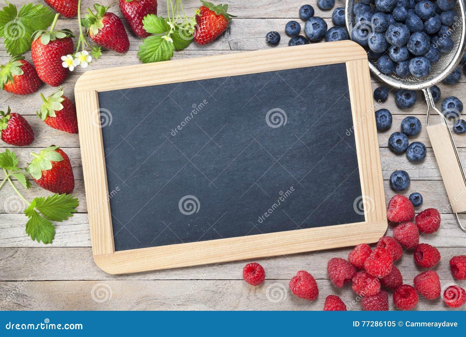 黑板黑板莓果标志背景