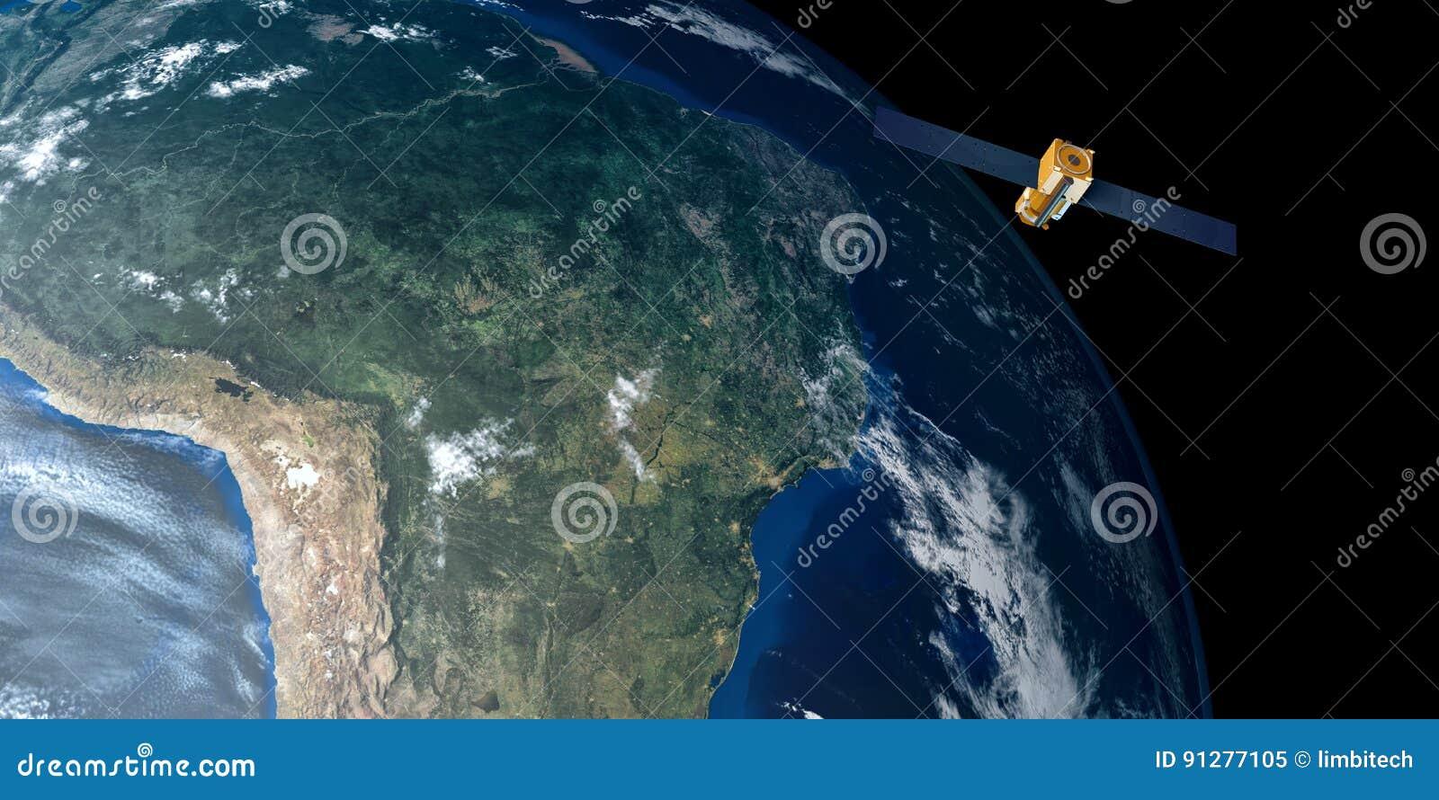 极端卫星轨道的地球的详细和现实高分辨率3D图象 射击从空间