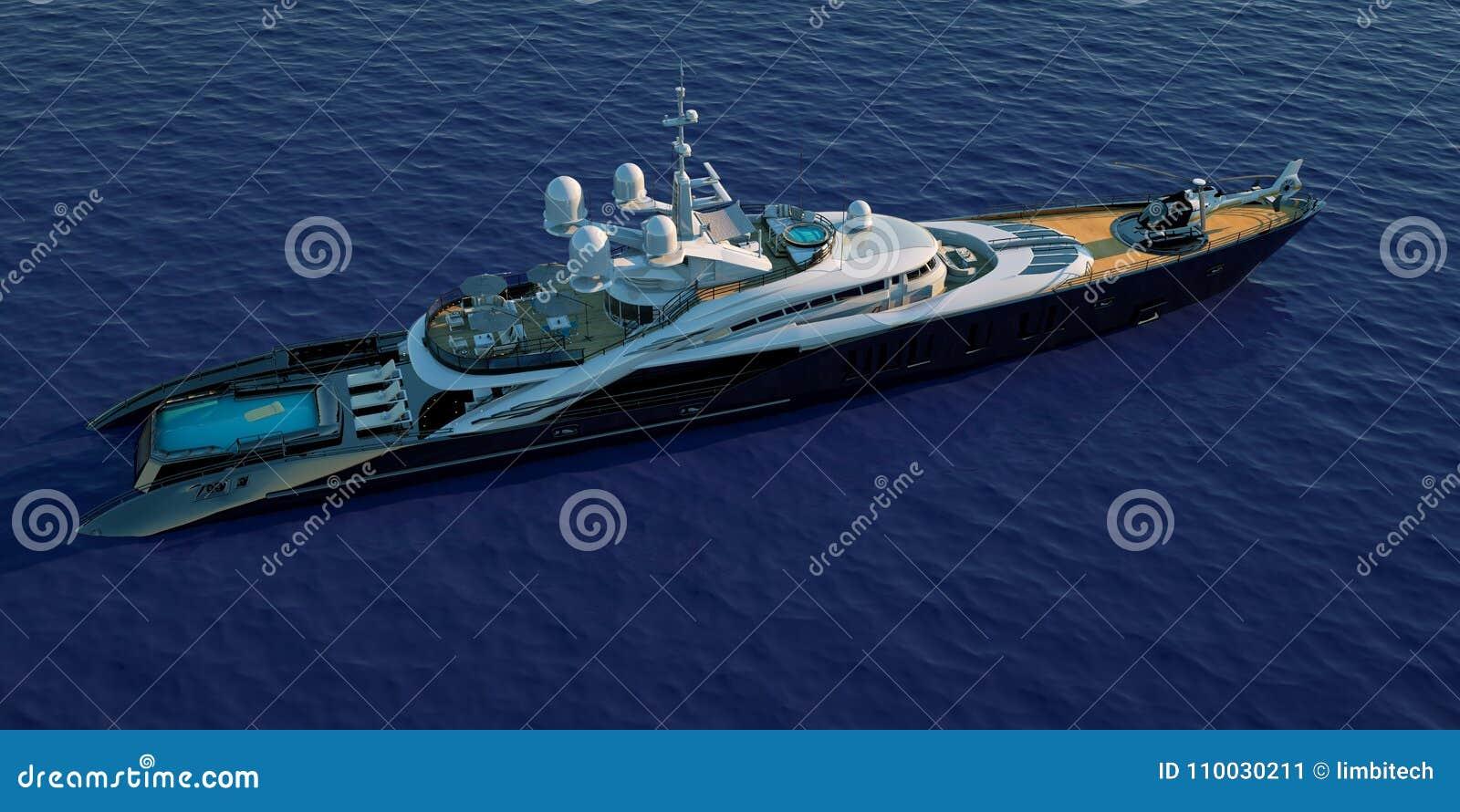 极端豪华超级游艇的详细和现实高分辨率3D例证