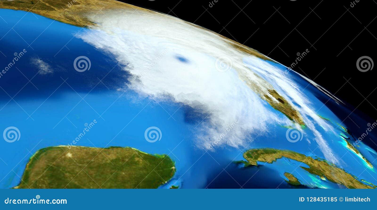极端飓风的详细和现实高分辨率3D例证 射击从空间 这个图象的元素是furni