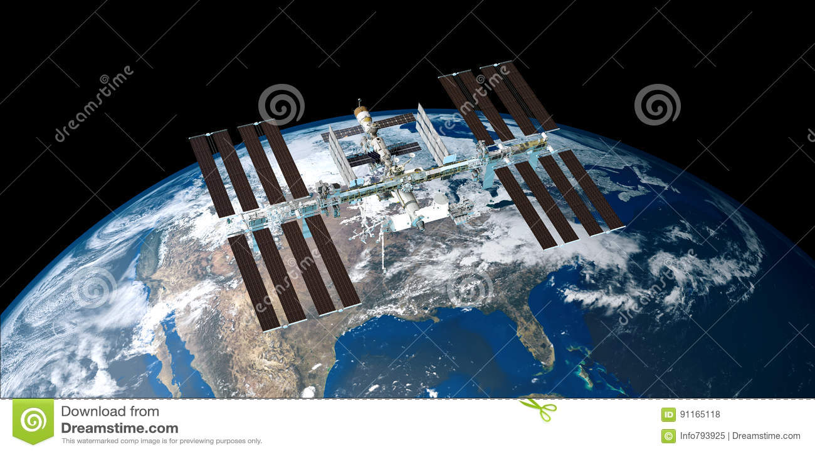 极端ISS国际空间站轨道的地球的详细和现实高分辨率3D图象从外层空间射击了