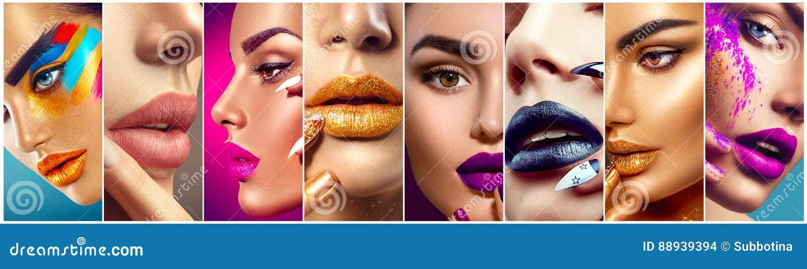 构成拼贴画 五颜六色的嘴唇、眼睛、眼影膏和钉子艺术