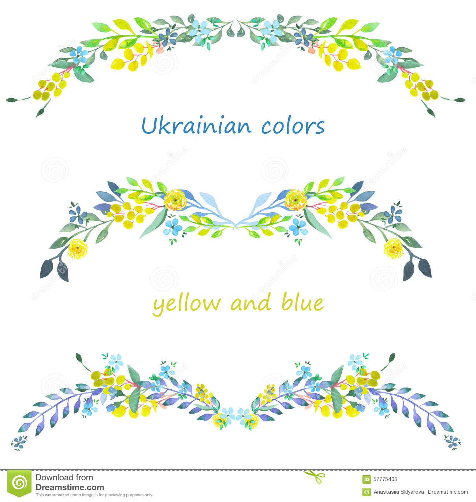 构筑边界、花卉装饰装饰品与水彩蓝色和黄色花,叶子和分支