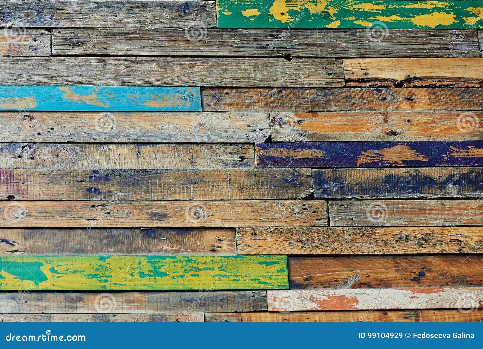 构造单位、从木头或者地板形成的多彩多姿的木篱芭,绘在快乐的颜色