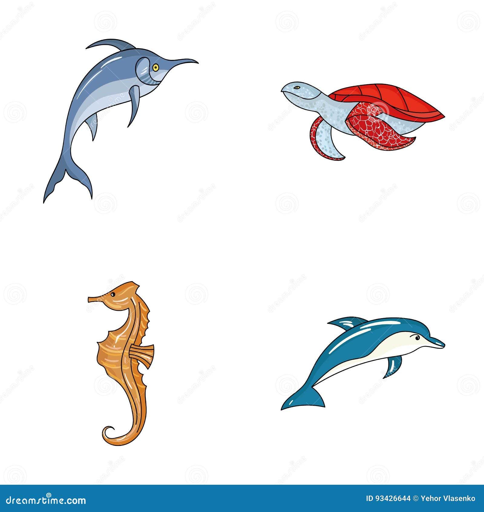 默林、乌龟和其他种类 海洋动物设置了在动画片样式传染媒介标志股票例证网的汇集象