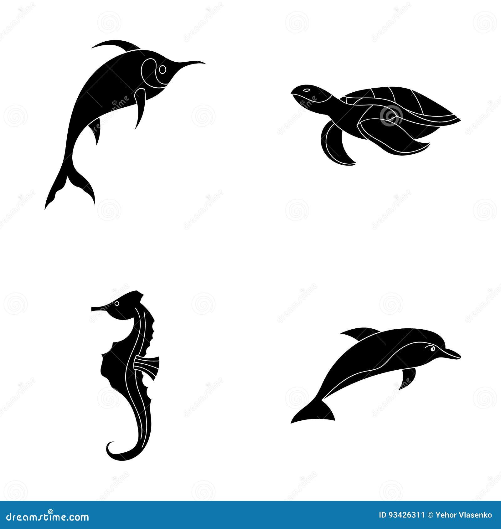 默林、乌龟和其他种类 海洋动物设置了在黑样式传染媒介标志股票例证网的汇集象