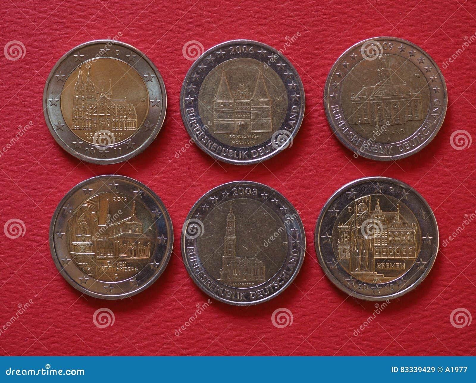 2枚欧洲硬币,欧盟,德国