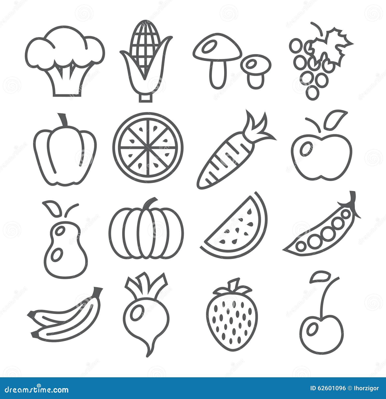 在白色的水果和蔬菜线象.图片