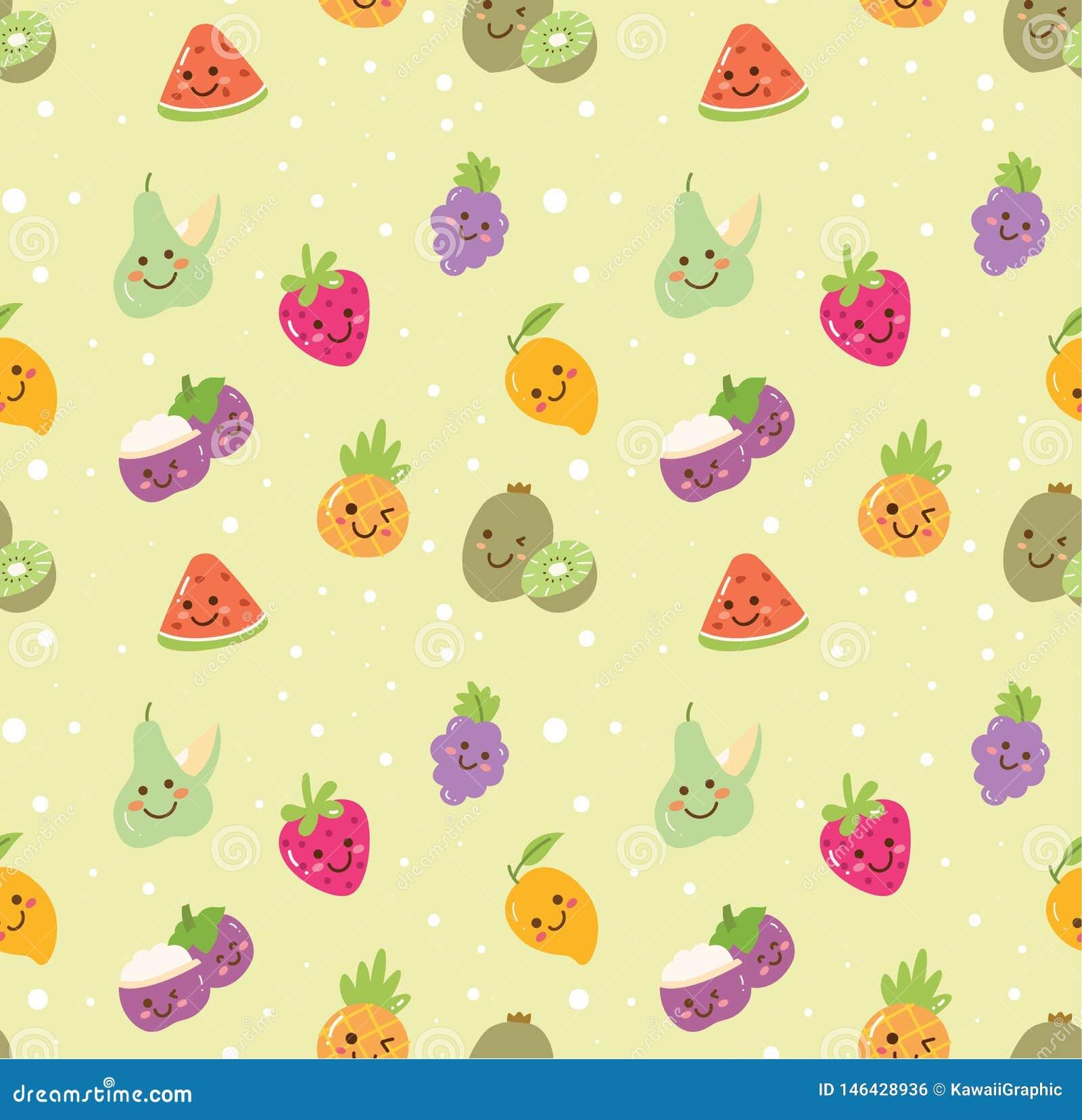 果子无缝的背景不同形式在kawaii样式传染媒介的