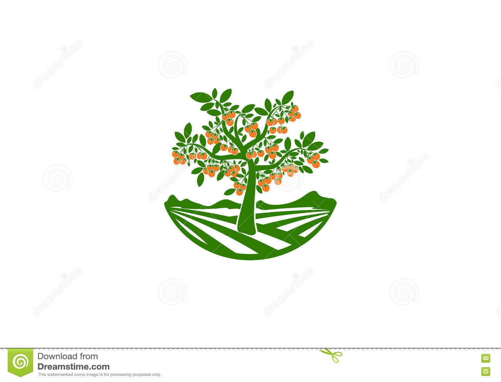 果树园商标,果子庭院标志,树象,柿子构思设计