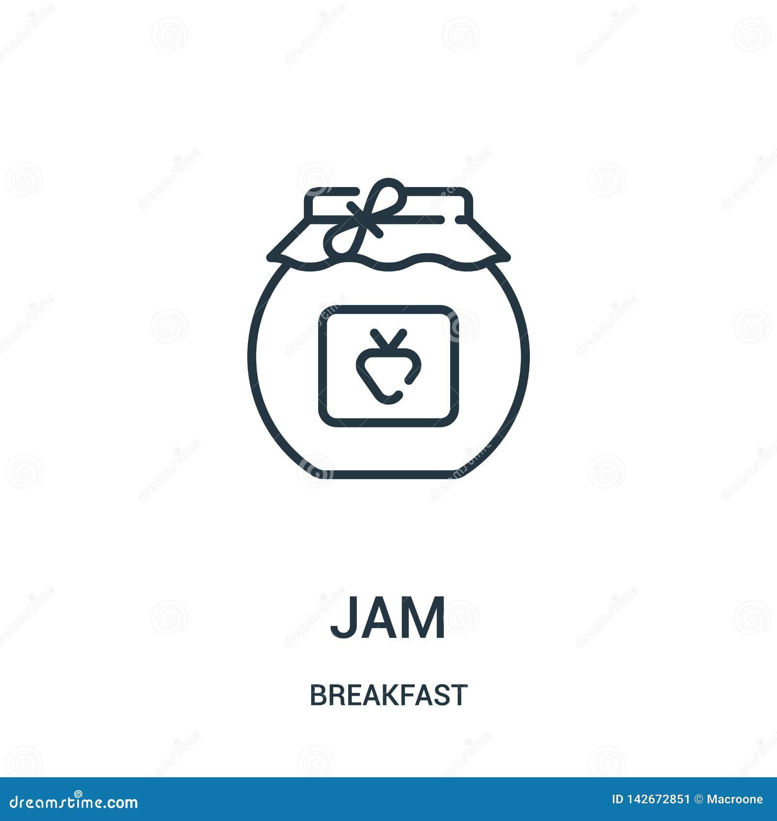 果酱从早餐汇集的象传染媒介 稀薄的线果酱概述象传染媒介例证 线性标志为在网和机动性的使用