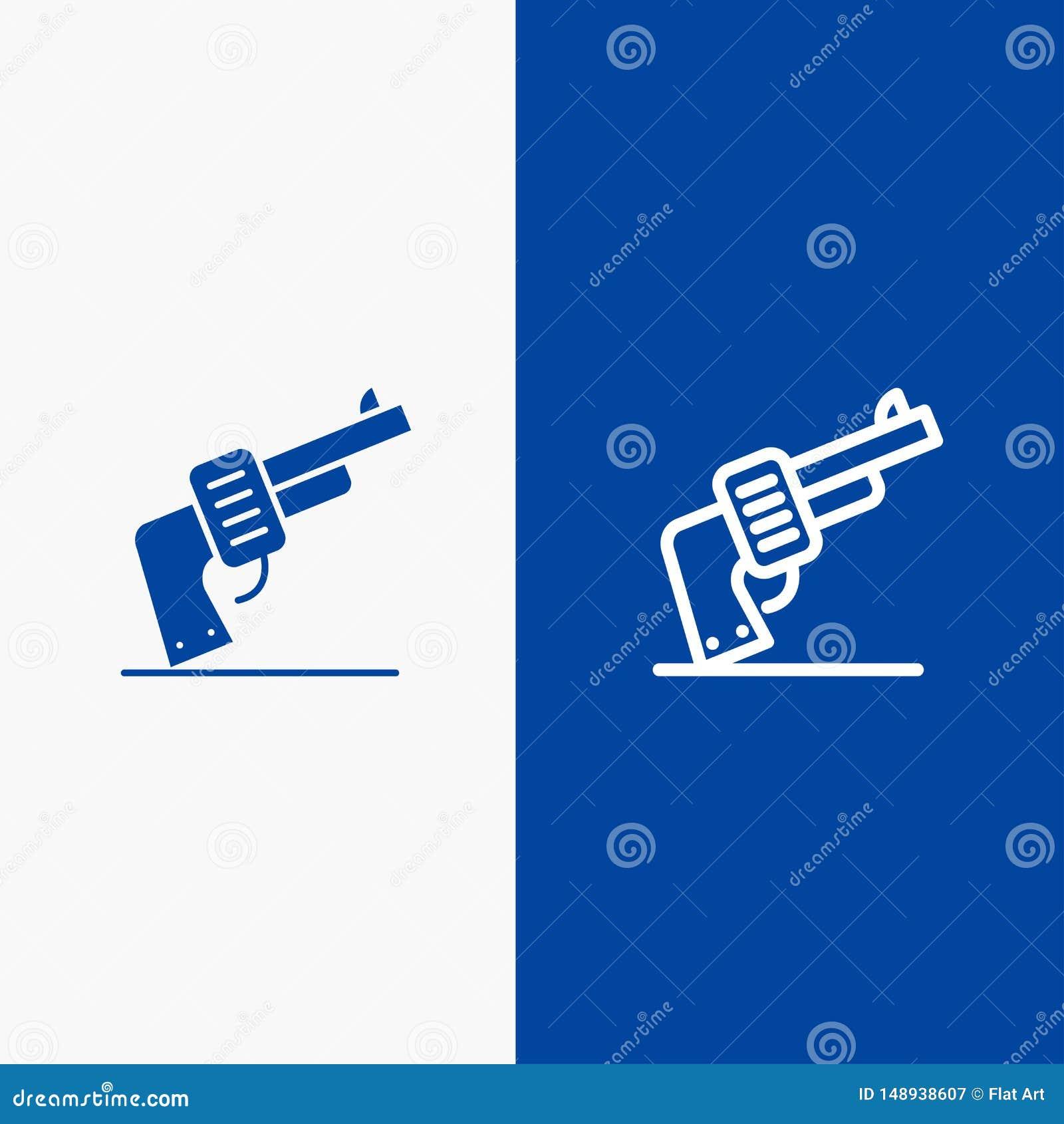 枪、手、武器,美国线和纵的沟纹坚实象蓝色旗和纵的沟纹坚实象蓝色横幅