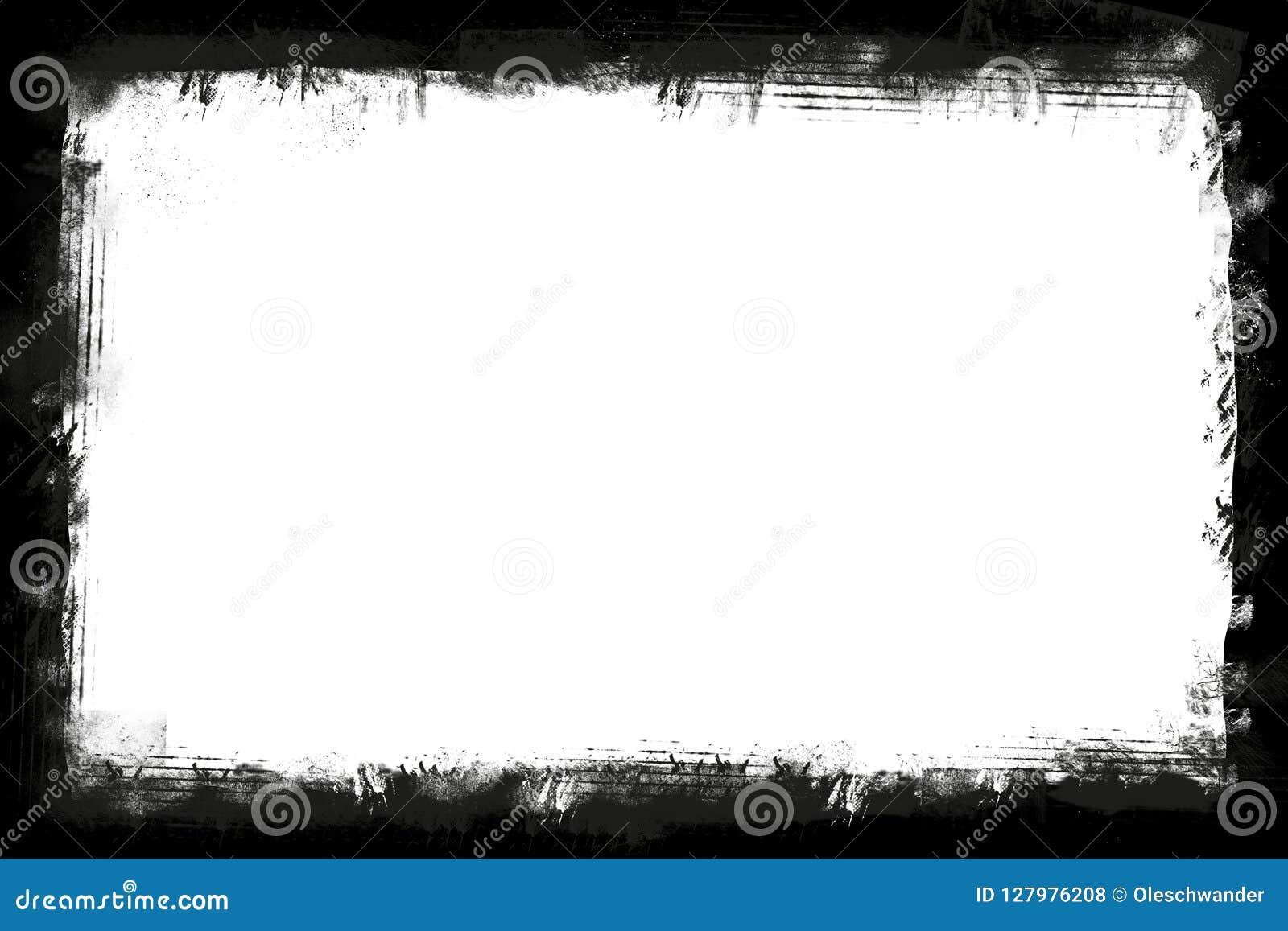 染黑在白色背景水平的图象的被剥去的边界框架与写的拷贝空间-水平