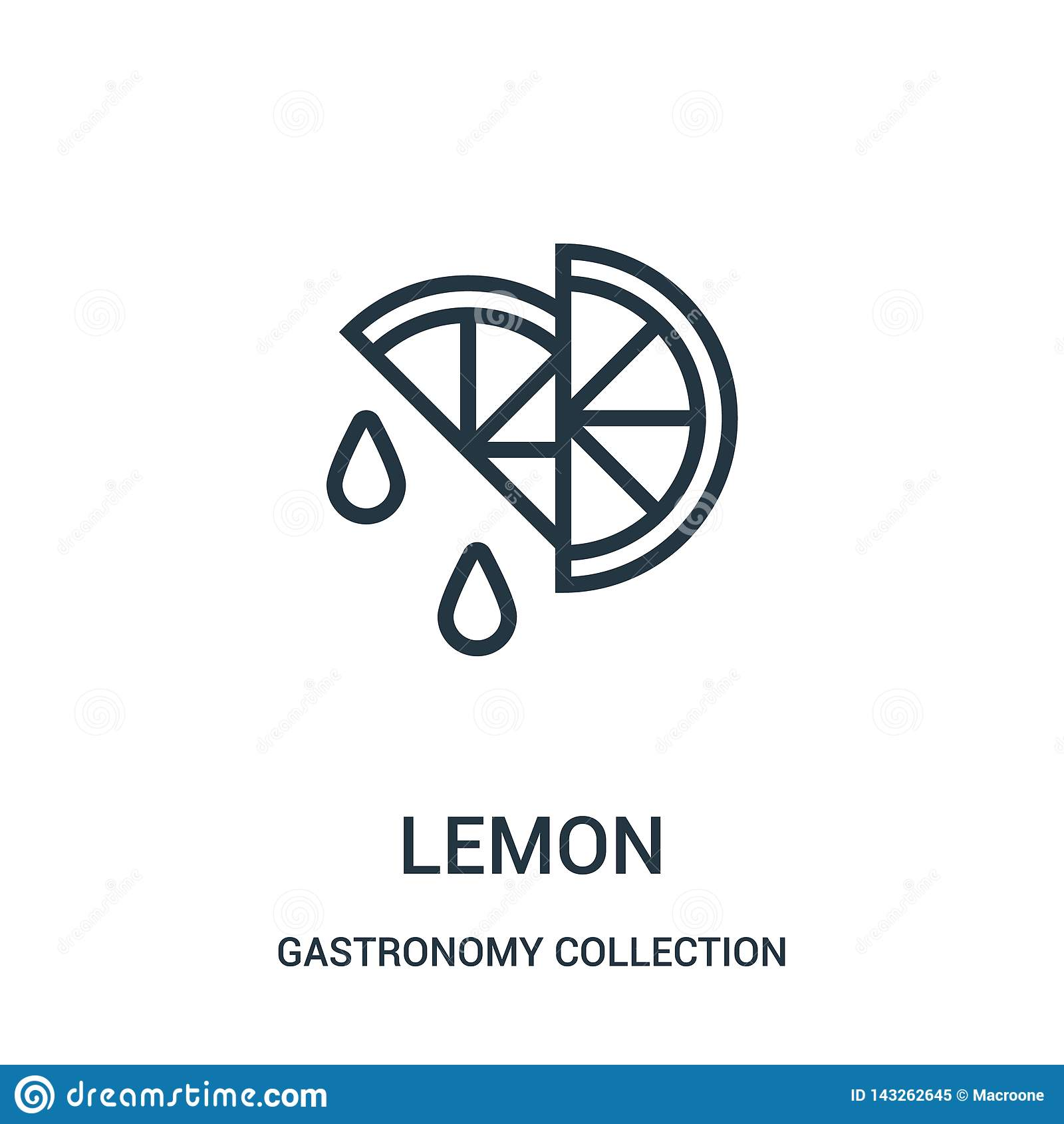 柠檬从美食术汇集汇集的象传染媒介 稀薄的线柠檬概述象传染媒介例证