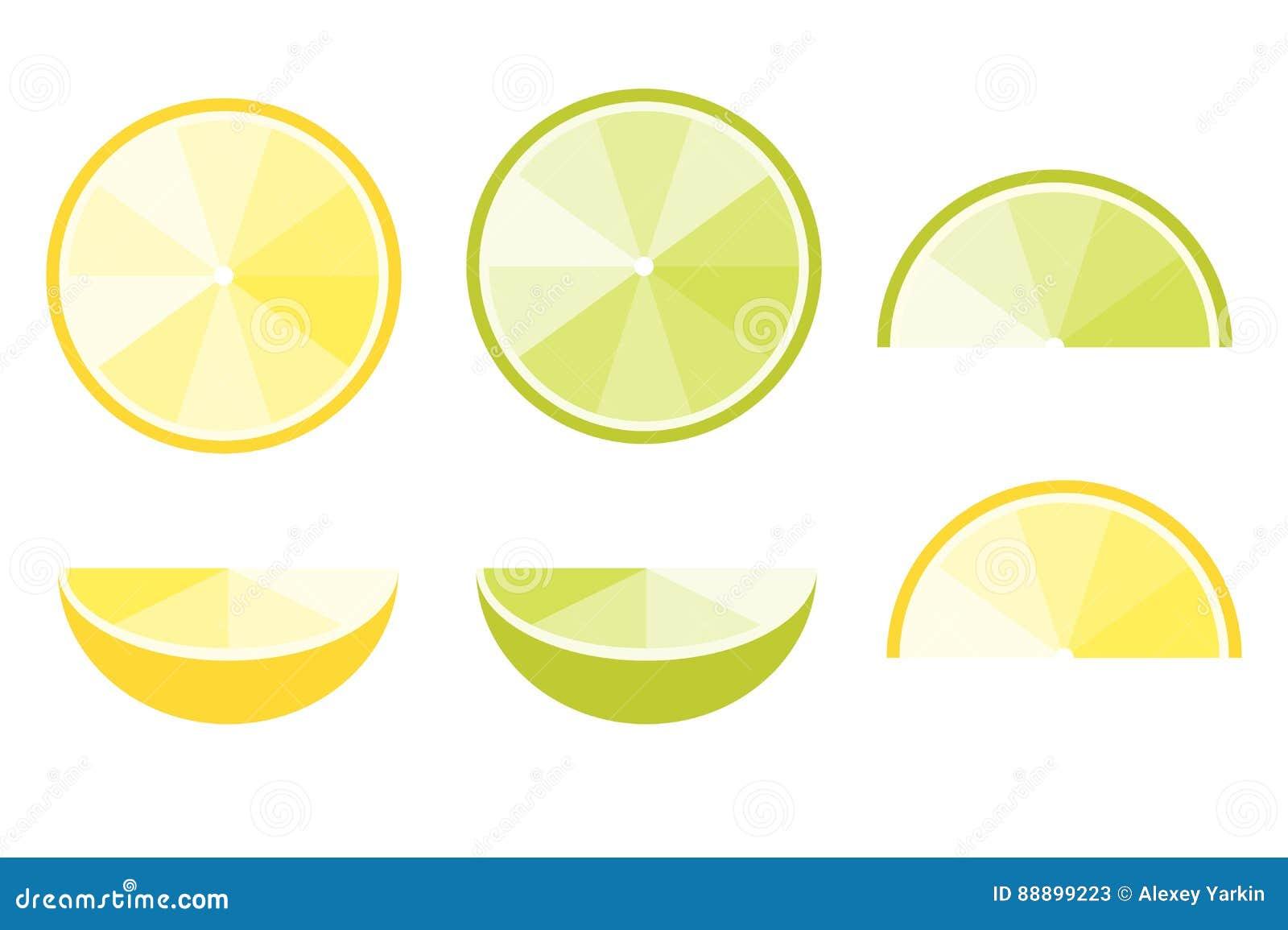 柠檬和石灰切片,食物装饰的平的传染媒介象