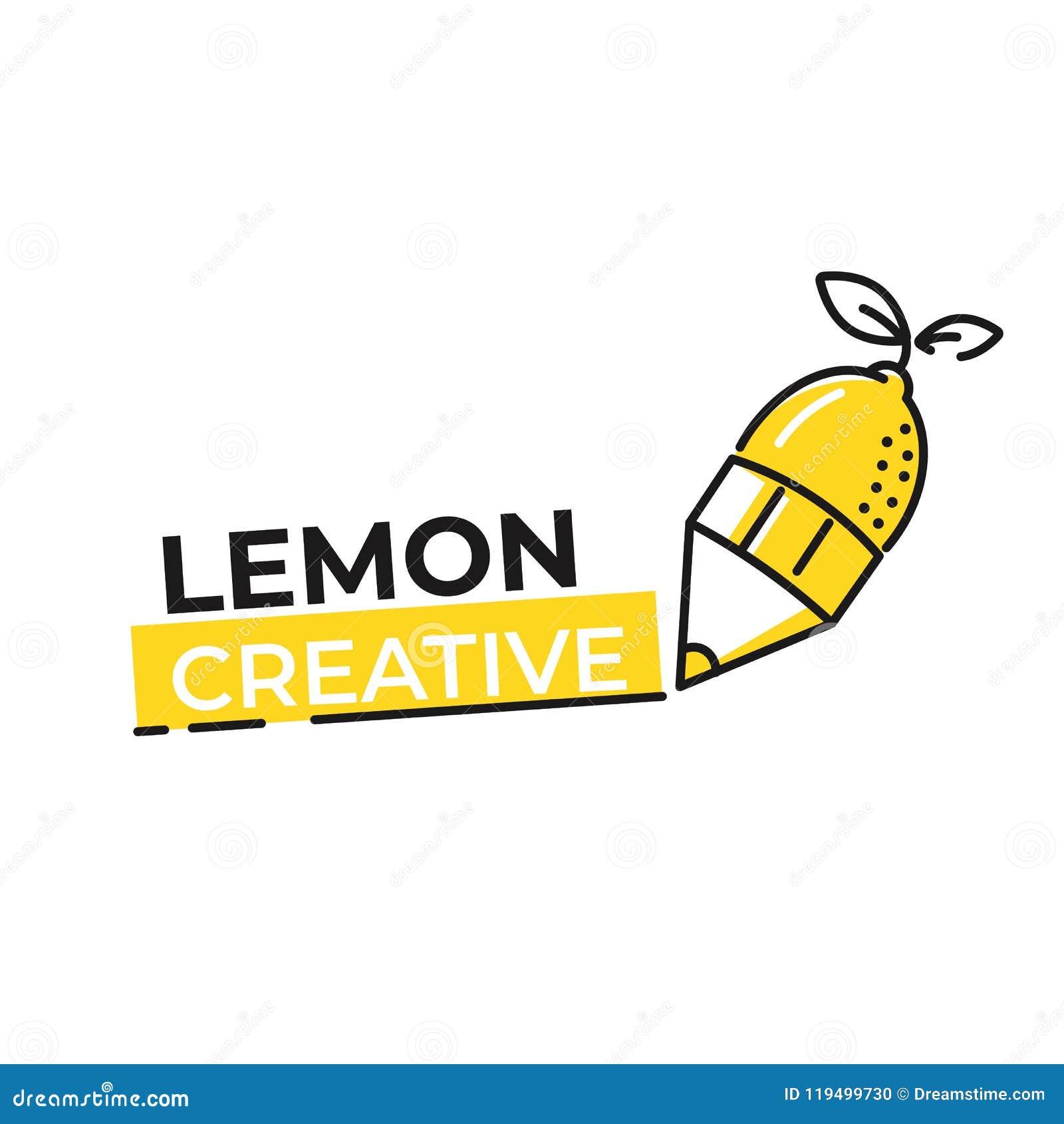 柠檬商标 略写法用明亮的新鲜的柠檬水 果子商店的夏天图画