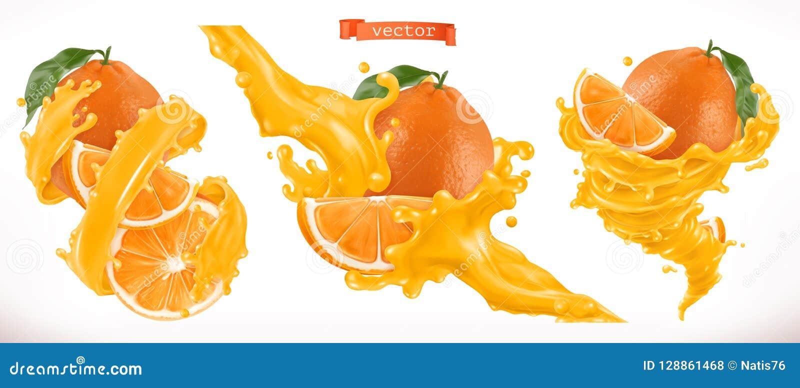查出的汁液橙色白色 新鲜水果3d传染媒介象