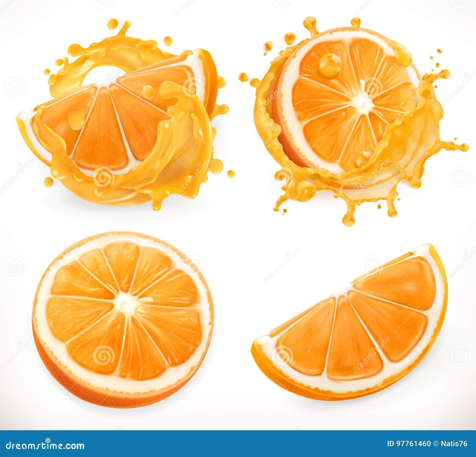 查出的汁液橙色白色 新鲜水果和飞溅 纸板颜色图标图标设置了标签三向量