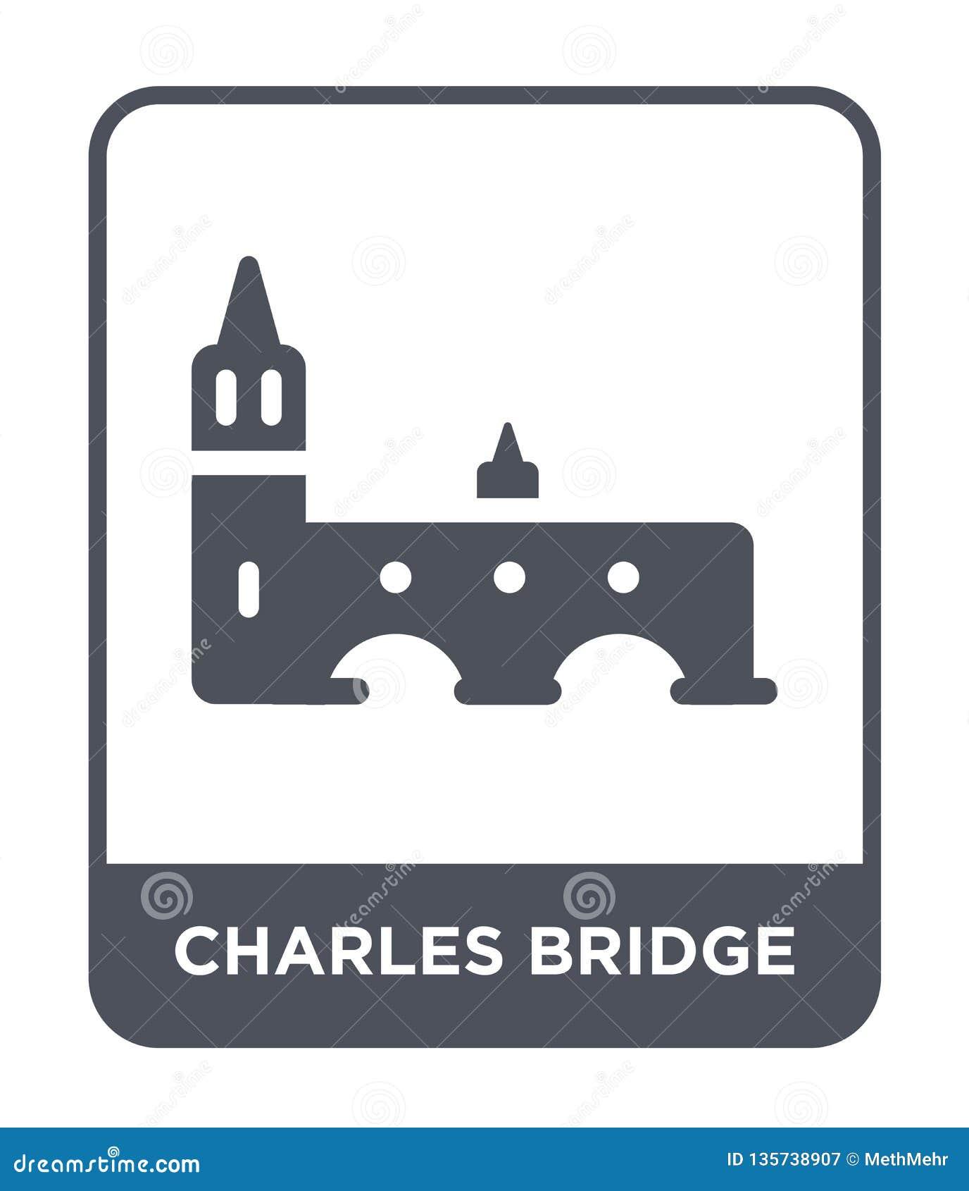 查尔斯在时髦设计样式的桥梁象 查尔斯在白色背景隔绝的桥梁象 查尔斯桥梁简单传染媒介的象
