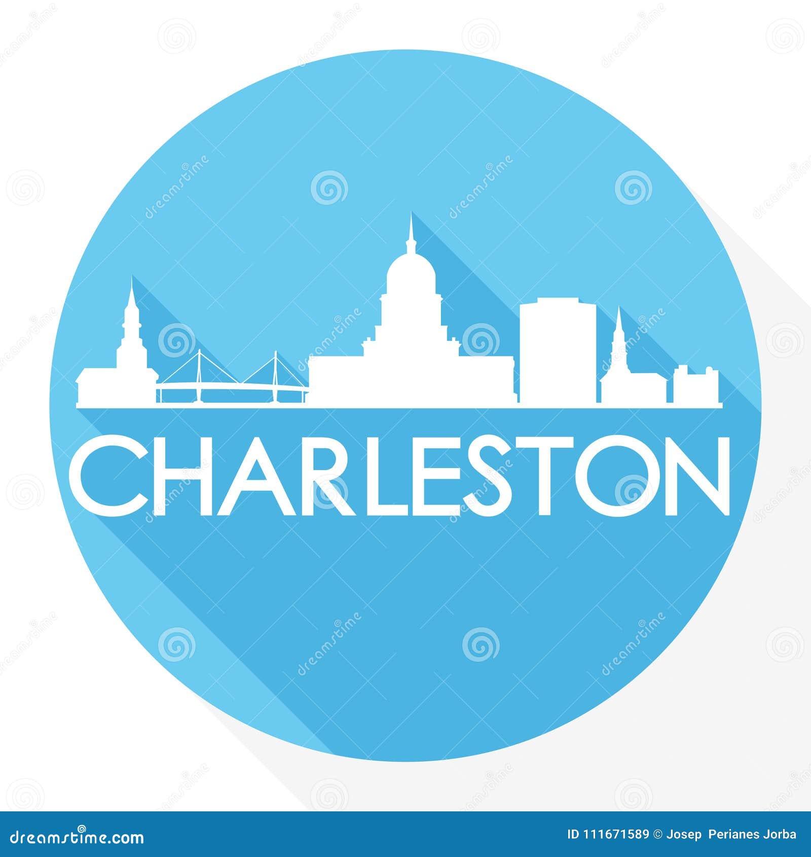 查尔斯顿南卡罗来纳圆的象传染媒介艺术平的阴影设计地平线城市剪影模板商标